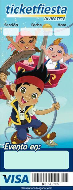 Plantilla invitación ticketmaster Jake y los piratas Pirate Birthday, Pirate Party, Boy Birthday, Printable Labels, Party Printables, Ticket Invitation, Party Invitations, Jack The Pirate, Happy Party