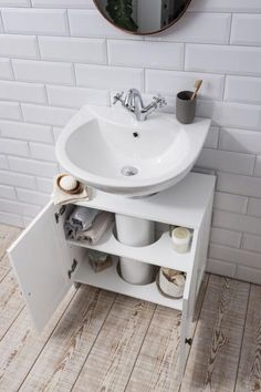 Details about Bathroom Sink Cabinet Undersink in White Stow Waschbeckenschrank Undersink in White Stow Bathroom Sink Cabinets, Small Bathroom Sinks, Small Bathroom Storage, Large Bathrooms, Diy Cabinets, Bathroom Flooring, Modern Bathroom, Bathroom Ideas, Bathroom Vanities