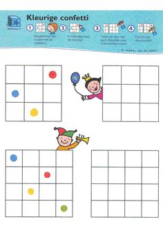 Ruimtelijk inzicht Clowns, Clown Crafts, Bingo Cards, School Themes, Kindergarten Math, Kids Education, Preschool Activities, Confetti, Montessori
