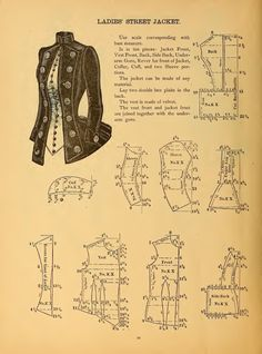 Sewing In Walden: Ladies' Street Jacket 1888 The national garment cutter book of diagrams Diy Clothing, Sewing Clothes, Clothing Patterns, Vintage Clothing, Steampunk Fashion, Victorian Fashion, Victorian Street, Steampunk Jacket, Victorian Dresses