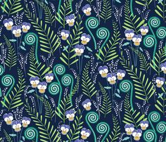 Love-in-idelness Indigo and violet fabric by jillbyers on Spoonflower - custom fabric