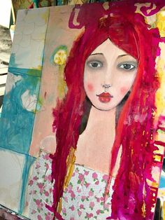 Oil / Mixed Media painting in progress by Suzi Blu that started with her large Unmounted Gypsy Face Rubber Stamp.