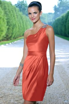 Charmeuse Band,Knee-length,One-shoulder Style 936 Bridesmaid Dress by Alexia Designs