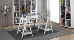 Práctico caballete regulable, de color blanco para conseguir una mesa de trabajo original y adaptada a cualquier uso y a un precio muy barato. Puedes comprar el cristal transparente o impreso con nosotros o utilizar algún tablón que tengas.