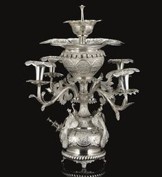 A SILVER TABLE FOUNTAIN WITH CANDLESTICKS, BURMA, EARLY 20TH CENTURY
