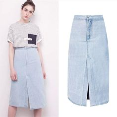 Europe and America High Waist Skirt Women Fashion Mint Blue Vintage Knee-length  Denim Faldas Mujer 2017 Summer Slim Saia Jeans 66f77920ad6b