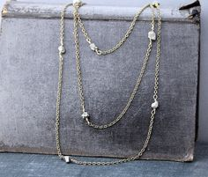 Pyrite & Antiqued Brass Long Station Necklace