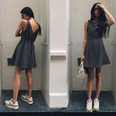 Get this look: http://lb.nu/look/8311963  More looks by Aliya Akhmedeeva: http://lb.nu/kartoshka  Items in this look:  Somemoment Dress, Nike Sneakers, Cole Haan Bag, Carven Sunglasses   #minimal #romantic #street