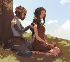 Korra and Asami - I like to think this picture is of them in the spirit world on vacation getting some much needed down time