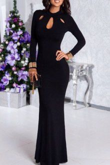 Black Hollow Stand Neck Long Sleeve Maxi Dress