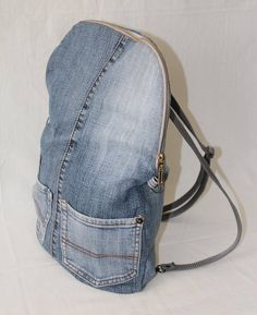 Recycled jeans backpack transformer bag cross body bag blue