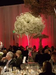 tall masses of Baby's Breath  short white roses at table height  ref # 2012981