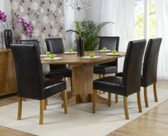 Mark Harris Dorchester Solid Oak 120cm Round Extending Dining Table with 6 Rustique Brown Chairs