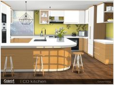 A set of furniture and decor for the kitchen in eco-style.  Found in TSR Category 'Sims 4 Kitchen Sets'