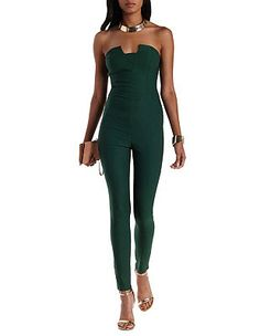 Notched Skinny Strapless Jumpsuit: Charlotte Russe
