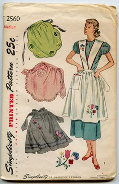 Simplicity 2560 ©1946 Misses' Aprons:  In Style I, broad shoulders which cross front and back create a novelty bib-top effect. A square pocket trims the front. In Style II suspenders are omitted and rows of bias tape form a border. Styles III and IV are pretty scalloped tea aprons which may be trimmed with face or bias binding. Embroidery trims each style. Transfer for embroidery included