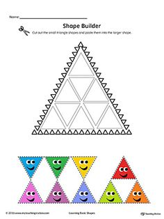 Use the Triangle Geometric Shape Builder Worksheet to help your child practice recognizing basic geometric shapes. Shapes Worksheet Kindergarten, Shapes Worksheets, Printable Preschool Worksheets, Worksheets For Kids, Preschool Shapes, Writing Worksheets, Free Preschool, Preschool Ideas, Triangle Worksheet