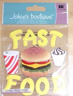 Jolee's Boutique Fast Food 3D Dimensional Stickers CUTE! #JoleesBoutique #3DDimensionalStickers