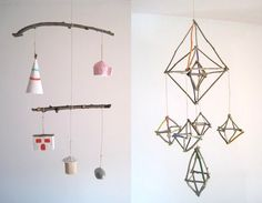 mobiles via the Joinery artist Kim Baise Make A Mobile, Amazing Spaces, Baby Furniture, Diy Arts And Crafts, Unique Baby, Joinery, Wind Chimes, Playroom, Home Goods