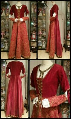 Velvet kirtle and linen smock, after patterns from the Tudor Tailor, ca. 1500. Costume maker: Angela Mombers