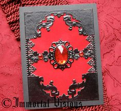 Gothic Brooch Greeting Card  Red Velvet by ImmortalVisions on Etsy, $8.50