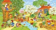 Praatplaat voor kleuters, lente / garten-im-fruehling