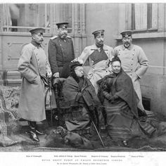 Queen Victoria (seated ctr) with (standing L-R) her son Arthur, Duke of Connaught, son Alfred, Duke of Saxe-Coburg, grandson Kaiser Wilmelm II, son Albert Edward, Prince of Wales and (seated right) her daughter Victoria the Empress Friedrich of Germany at Palais Edinburgh, Coburg, 1894