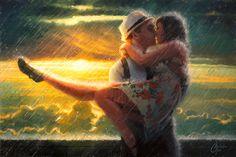Romance in the Rain by Christopher Clark Oil Paint On Wood, Painting On Wood, Fabian Perez, Clark Art, Rain Art, Howls Moving Castle, Art Google, Storytelling, Romance