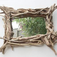 Large Driftwood Mirror,Landscape Rustic Mirror,Overmantle Drift wood Mirror