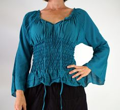 LS PEASANT Blouse - Zootzu Pirate Renaissance Festival Costume Chemise Gypsy Top Pirate Steampunk Shirt Corset Long Sleeves Top TEAL Blue