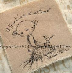Original Pen Ink Fabric Illustration Quilt Label by Michelle Palmer Teddy Bear Sparrow Bird Daisy Love July 2014