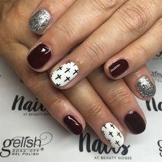 Cross Nail Art, Cross Nails, Cross Nail Designs, Nail Art Designs, Acrylic Nails Coffin Short, Cute Acrylic Nails, Cute Gel Nails, Toe Nails, Country Nail Art