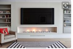 Awesome 40 Awesome Modern Fireplace Decor Ideas And Design thearchitectureho. design modern 40 Awesome Modern Fireplace Decor Ideas And Design Modern Fireplace Decor, Simple Fireplace, Home Fireplace, Living Room With Fireplace, Fireplace Design, Fireplace Ideas, Modern Fireplaces, Modern Electric Fireplace, Linear Fireplace