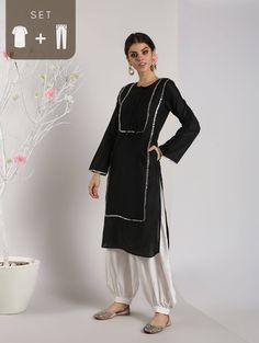 Abhishti Cotton Silk Pathani Kurta with Front Lace Panels with Bottom - Aagman - Collection Pathani Kurta, Indian Look, Ethnic Looks, Cotton Silk, Ootd Fashion, Festival Fashion, Types Of Fashion Styles, Pattern Fashion, Bell Sleeve Top