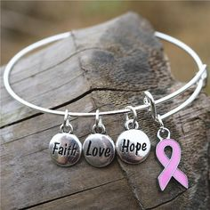 Pink Breast CANCER Ribbon Charm Bracelet by ChicTrendyTreasures