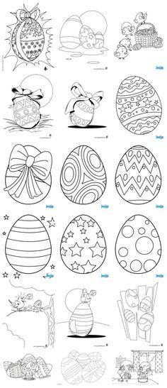 des œufs de Pâques de toutes sortes pour ces 18 pages à colorier - des motifs que vous pourrez utiliser pour d'autres techniques : iris folding, gaufrage, mosaïque, quilling, paper piecing, broderie, appliqué, patchwork, etc...