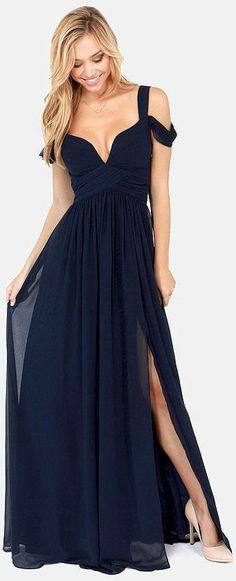 WOW! This is gorgeous! - Elegant Navy Blue Maxi Dress