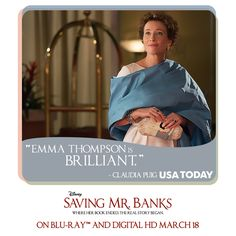 "Have you seen Emma Thompson's ""brilliant"" performance in Saving Mr. Banks? See the American classic again on Blu-ray and Digital HD March 18: http://di.sn/aY1"