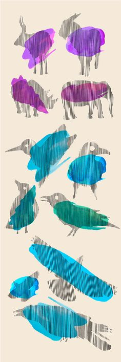 Lines animals and birds watercolor by evgeniya.gorelova.5 on @creativemarket