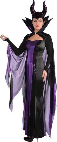 Disney Costumes Womens Maleficent Costume Couture - Sleeping Beauty Party City - Womens Maleficent Costume Couture looks just like the Sleeping Beauty villain's outfit! This deluxe Maleficent costume includes a dress, horns, and cape. Sleeping Beauty Party, Sleeping Beauty Maleficent, Sleeping Beuty, Disney Costumes For Women, Adult Costumes, Movie Costumes, Witch Costumes, Cosplay Costumes, Halloween