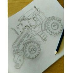 Attempt at drawing a Massey Ferguson 5480 #drawing #tractor