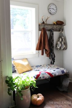 Fall Mudroom with quilt covered bench, cozy pillows, and pumpkins Living Area, Living Spaces, Architecture Design, Rooms To Let, Autumn Home, Mudroom, Home Decor Inspiration, My Dream Home, House Tours