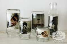 Glass Jar Photo Frames. love this idea.
