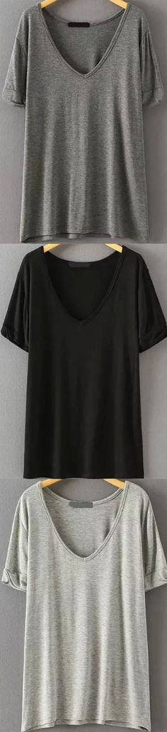 Super soft cotton loose t-shirt at www.romwe.com. Four cold colors here.Come&Sign up for up to 60% off with free shipping!