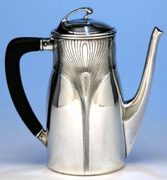 Orivit Sterling Silver Art Nouveau Coffee and Tea Service with Tray, Cologne, Germany, c. 1904