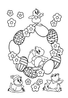 EASTER COLOURING: EASTER EGG COLOURING page with eggs, flowers and chicks.