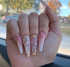 Bling Acrylic Nails, Square Acrylic Nails, Best Acrylic Nails, Bling Nails, Swag Nails, Gel Nails, Acrylic Nail Designs Coffin, Glitter Nails, Acrylic Nail Designs For Summer