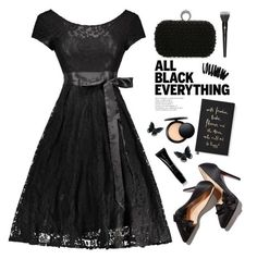 """""""Black style"""" by yexyka ❤ liked on Polyvore featuring Lancôme, Bobbi Brown Cosmetics, Kate Spade, MAC Cosmetics, Giorgio Armani, GetTheLook, StreetStyle, lace, allblack and Dressunder50"""