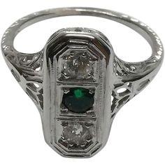 Art Deco 18K White Gold Diamond Emerald Ring size 5.5