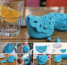 Cute crochet coin purse, free pattern (in Italian). Crochet Simple, Crochet Diy, Crochet Gifts, Crochet Hooks, Tutorial Crochet, Crochet Cocoon, Purse Tutorial, Diy Tutorial, Crochet Sheep